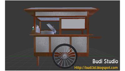 Download Model 3D Gerobak Bakso