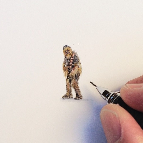 03-Wars-Chewbacca-Karen-Libecap-Star-Wars-&-other-Miniature-Paintings-and-drawings-www-designstack-co