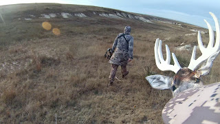 stalking whitetail deer with heads up decoy