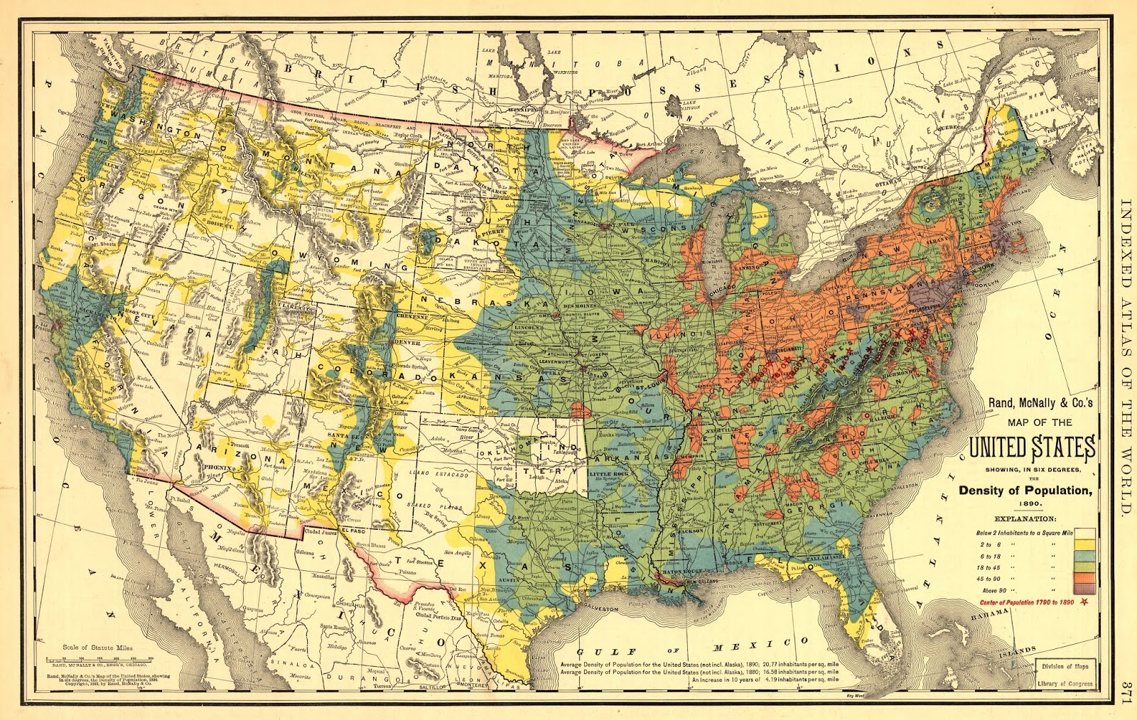 Map of the United States Showing, in Six Degrees, the Density of Population (1890)