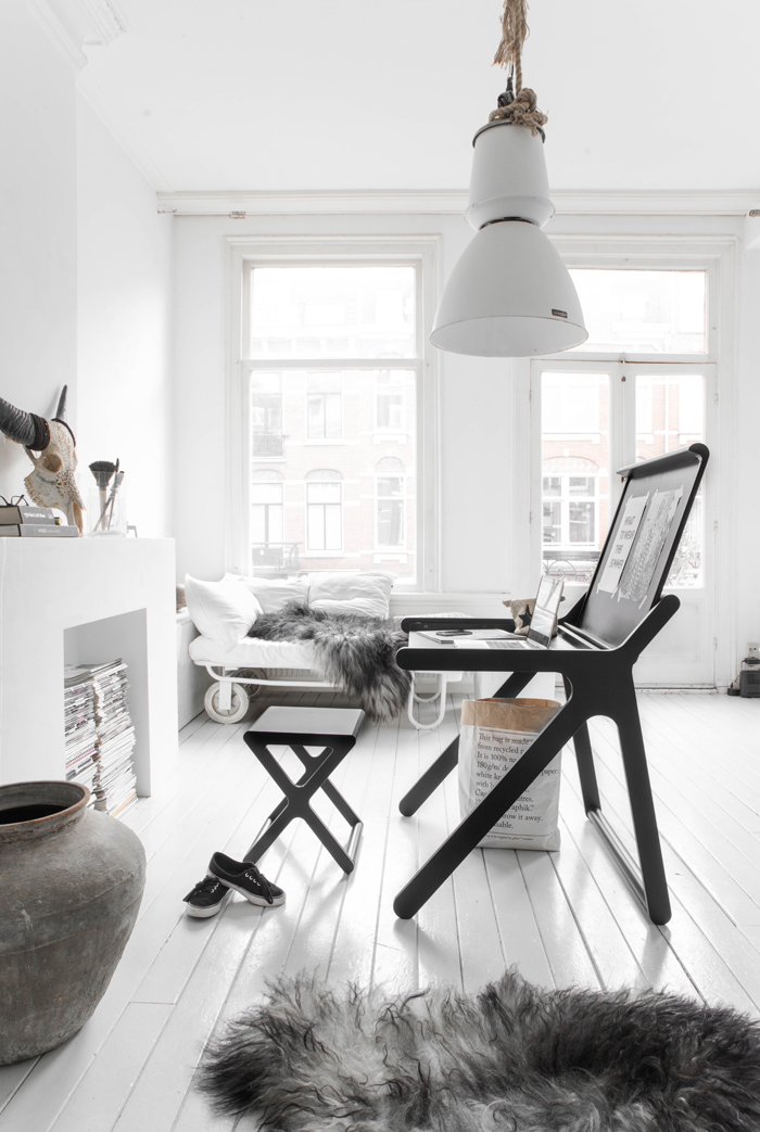 working at home - black desk and X stool by Rafa-kids photo Paulina Arcklin