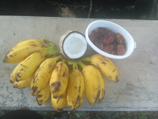 Sun cooked breakfast (Fruits) - Banana, Dates, Coconut