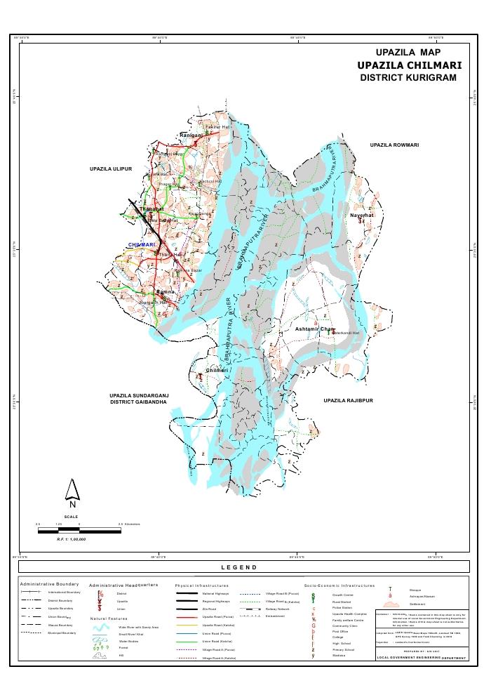 Chilmari Upazila Map Kurigram District Bangladesh