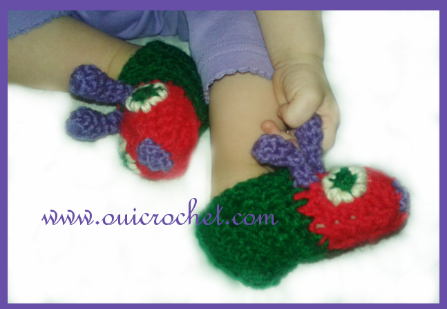 Crochet, Free Crochet Pattern, Crochet Slippers, All Size Simple Slippers, Caterpillar Slippers, Hungry Caterpillar slippers, Hungry Caterpillar Booties,