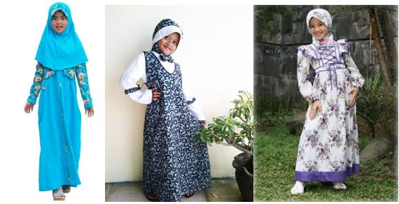 Model Baju Batik Muslim Anak Perempuan
