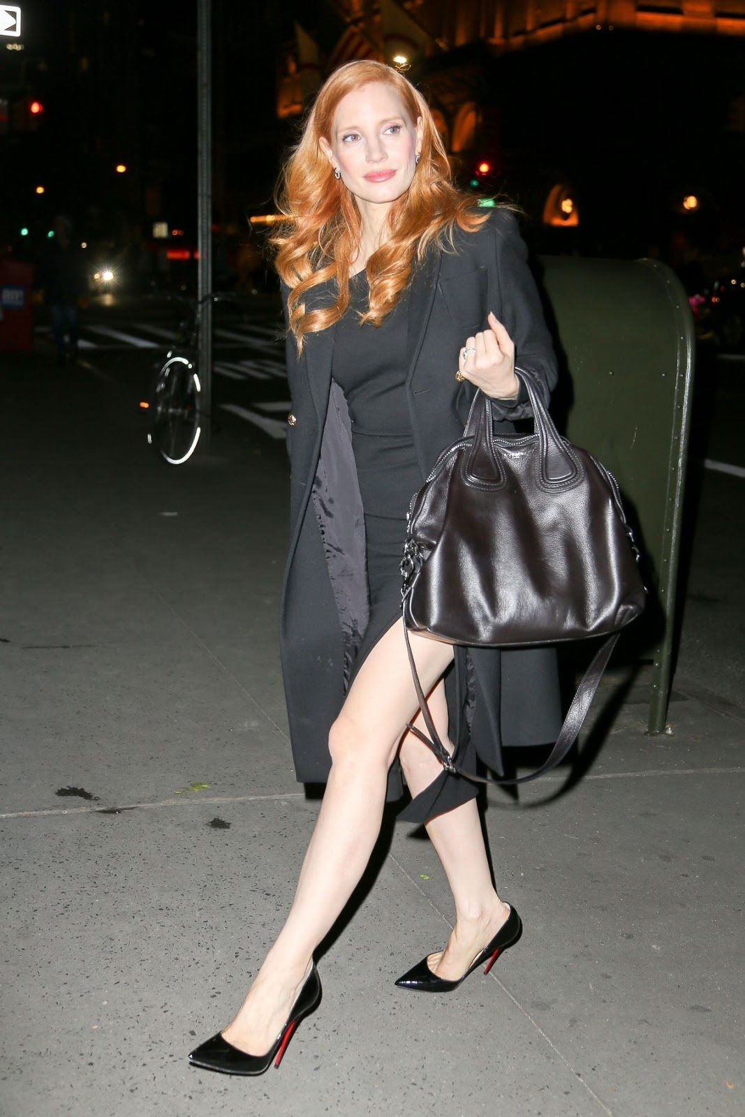 Photos of Jessica Chastain riding in car after Tonight Show Starring Jimmy Fallon in New York