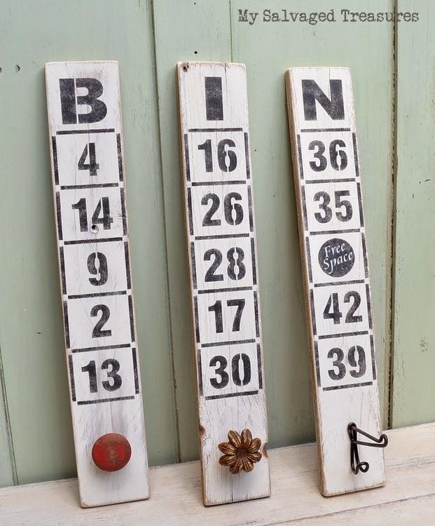 #FunkyJunkInteriors #oldsignstencils Bingo boards by MySalvagedTreasures