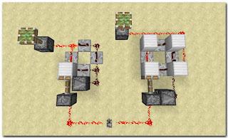 Minecraft Redstone Circuit リピーターを4つ使ったクロック回路1