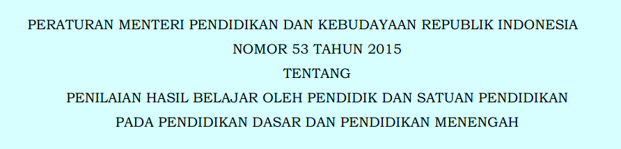 Donwload Permendikbud Nomor 53 Tahun 2015