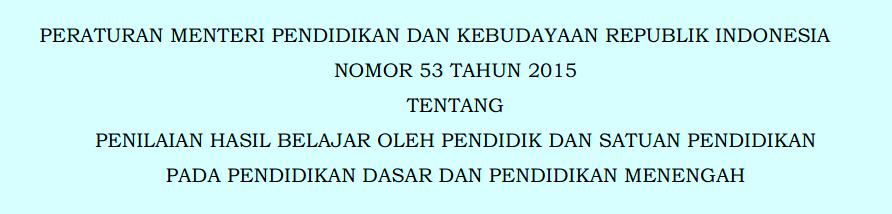DONWLOAD PERMENDIKBUD NO 53 TAHUN 2015