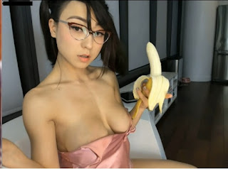 Asian Blowjob A Banana And Flashes Natural Big Boobs Rare Striptease