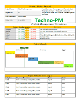 Project Status Report Template, weekly project status report