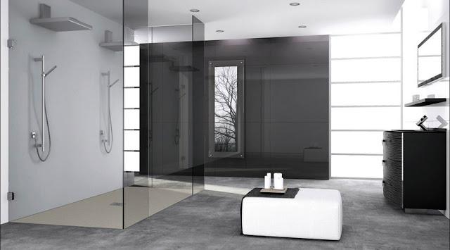 Große-duschabtrennung-glas-rahmenlos-modern-Design-mit-zwei-Duschkopf