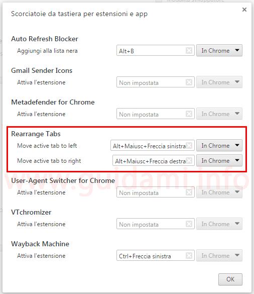 Finestra per cambiare scorciatoie tastiera estensione Rearrange Tabs per Chrome