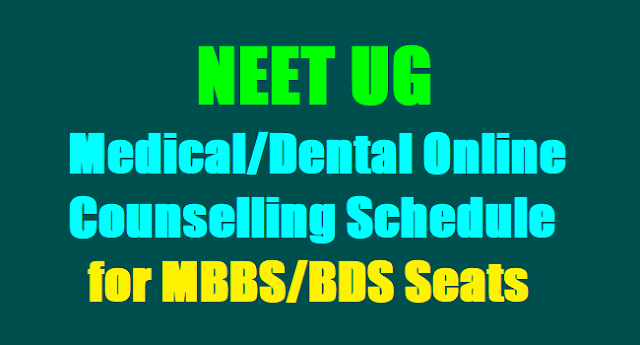 NEET 2017 UG Medical Dental Online counselling Schedule, NEET MBBS BDS Seats,Seat allotment results