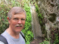 Dan Simpson at Darlin' Donna Falls on Fish Canyon Trail en route to Fish Canyon Falls