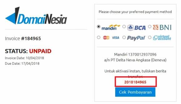 tagihan atau invoice dari domainesia