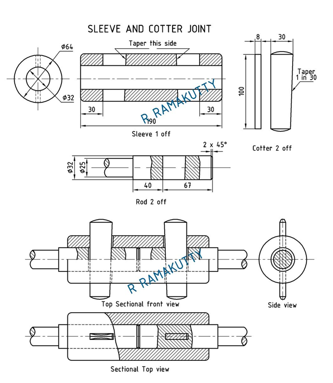 Machine Drawing: Sleeve and cotter joint & Socket and
