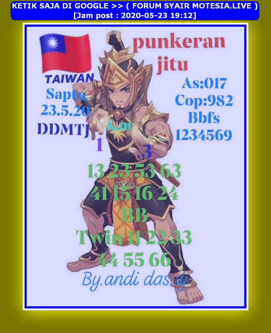 Kode syair Hongkong Sabtu 23 Mei 2020 40