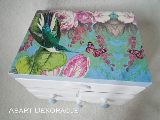 szkatułka z lusterkiem decoupage