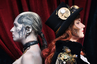 Steampunk special fx makeup for men and women's costumes. Silver and gold face and body paint idea. Robot and gears beneath skin.