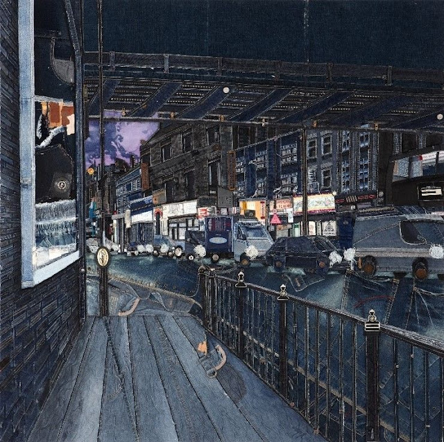 Korean Denim Artist Choi So young urban landscape Busan second hand denim creative painting
