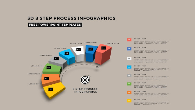 Multi Step 3D Circular Process Diagram Infographic Free PowerPoint Template Slide 12