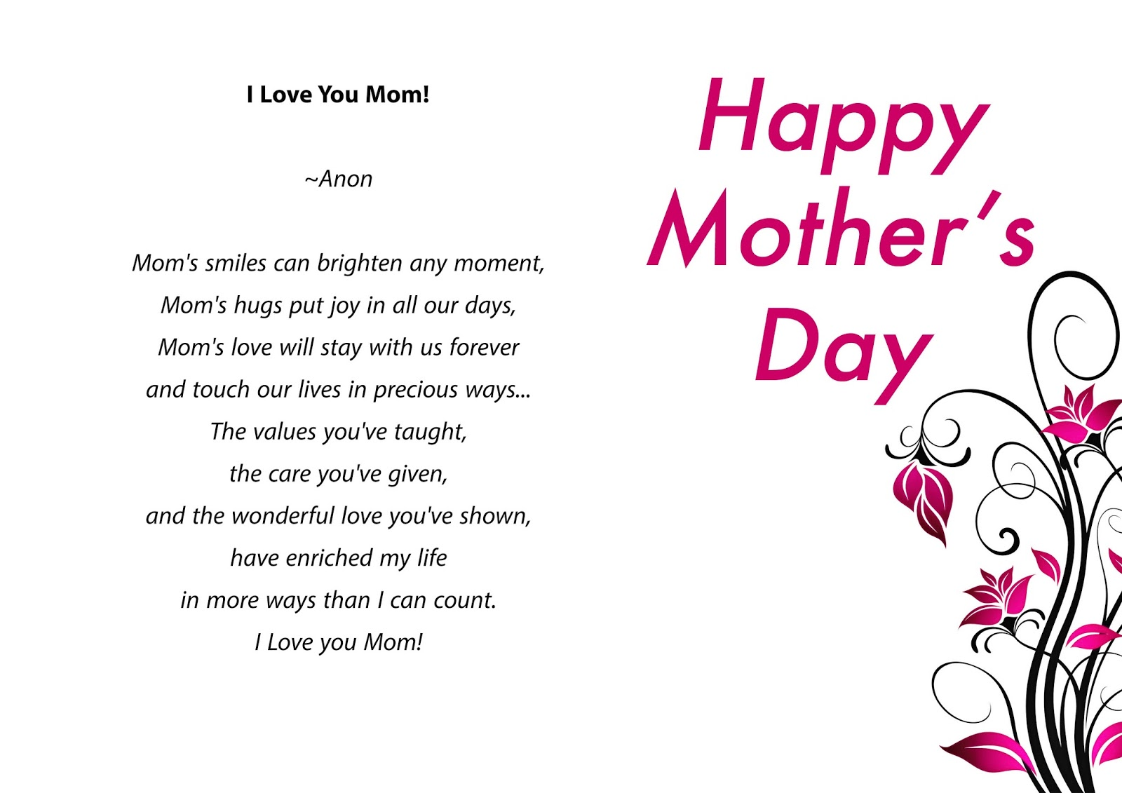 Mothers Day Card 2016 Mothers Day 2016