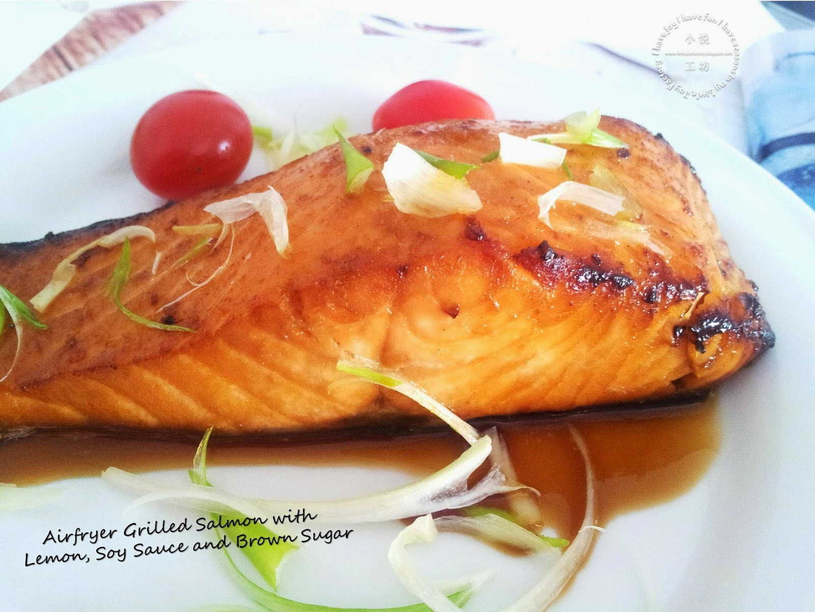 Little joy factory grilled salmon with lemon soy sauce for Air fryer fish and chips