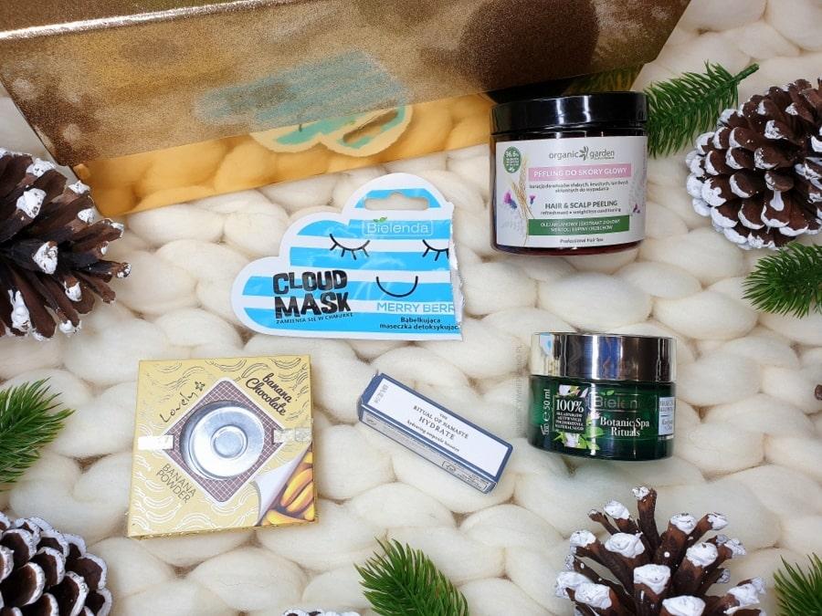 DENKO GRUDZIEŃ 2018 - Bielenda Cloud Mask, peeling Organic Garden, ampułka Rituals Hydrate, maska Bielenda kurkuma, Lovely Banana Chocolate