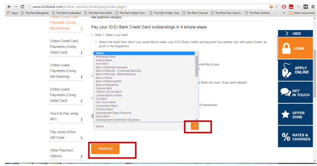 icici pay direct card login page