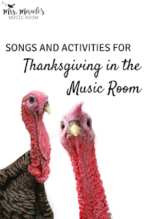 Songs and activities for Thanksgiving in the music room: Includes a round of blog posts with lots of great ideas for your elementary music lessons!