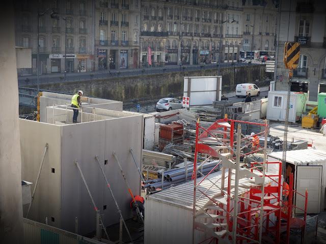 L'élévation des murs de la future sortie de la station Saint-Germain, le 24 janvier 2017... Photo Erwan Corre