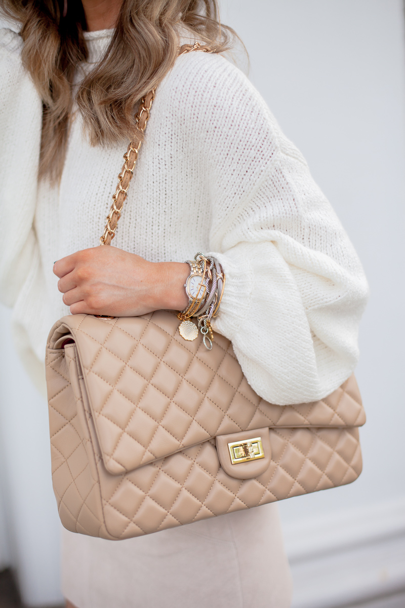 amazon ainifeel oversized quilted bag apricot