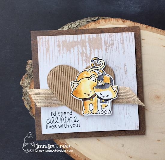All Nine Lives Cat Card by Jennifer Timko | Newton's Sweetheart Stamp Set by Newton's Nook Designs #newtonsnook #handmade