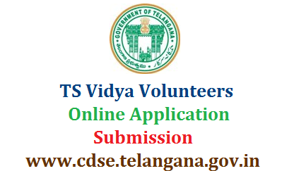 TS Vidya Volunteers Online Application Form Submission @cdse.telangana.gov.in  Telangana Vidya Volunteers Recruitment 2018 Apply Online at Department Official web portal cdse.telangana.gov.in in the given schedule. Online Application form starts from 13.07.2018 and ends on 16.07.2018. The Candidates with Suitable Educational and Professional qualifications may Upload Online Application Form through the given Official link at CDSE Telangana Website. Intended and eligible candidates may follow day wise schedule given by School Education Department of Telangana. Selection Procedure, Guidelines as per the GO Rt issued in 2016 ts-vidya-volunteers-online-application-form-submission-cdse.telangana.gov.in-apply-upload-details