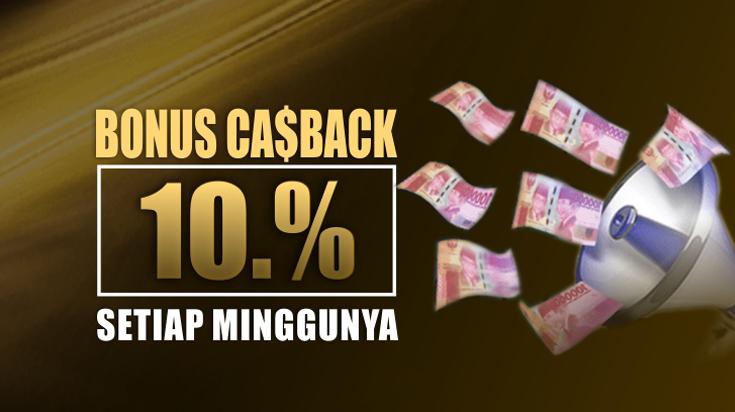 Cashback Mingguan Hingga 10%