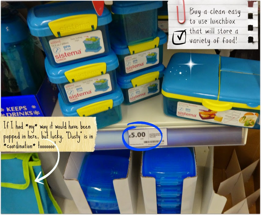 Back to school lunch box range at Tesco on the shelf