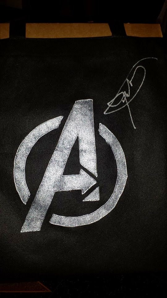 DIY Avengers Logo tote bag autographed by Jeremy Renner