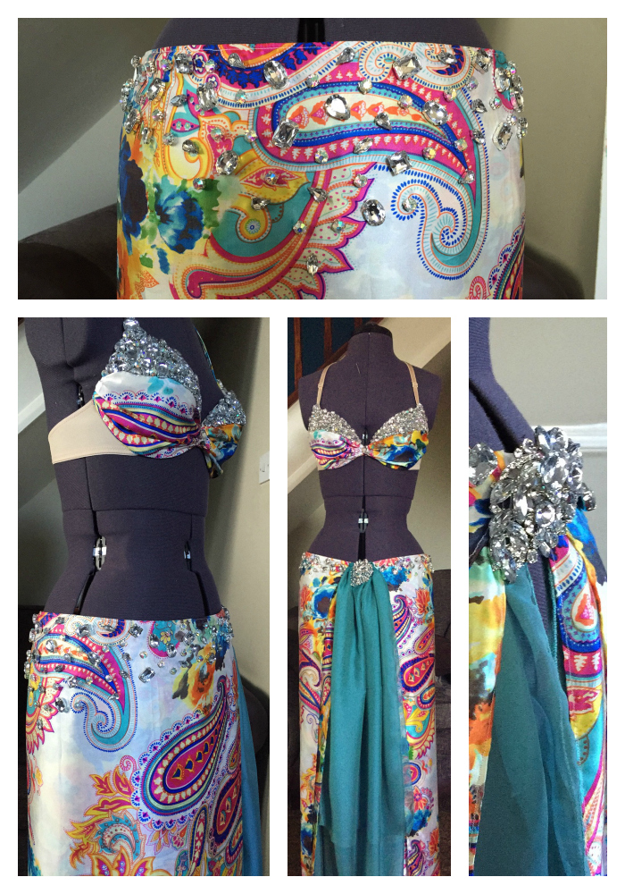 Belly Dancing, dancer, mystic magic, costume, belly dance costume, diamonds, print fabric, colourful, bling bra, diamond bra, inspiration, costume making,