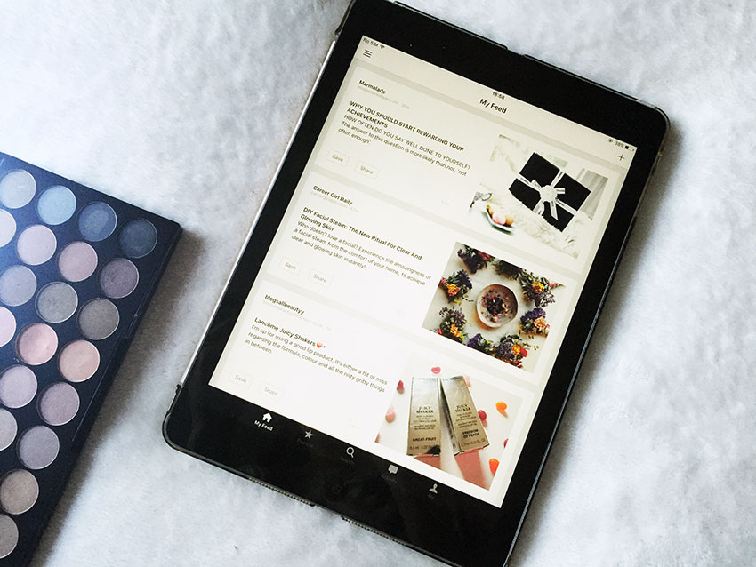 Bloglovin on ipad and Makeup Revolution flawless matte palette