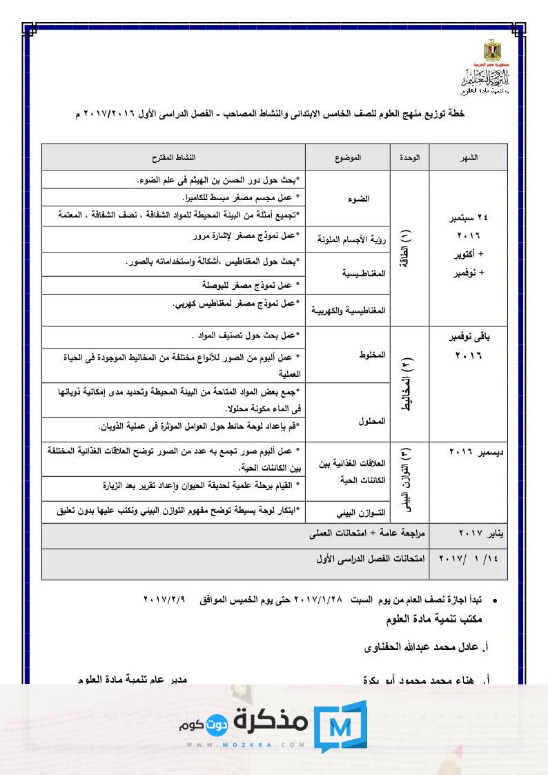 توزيع منهج العلوم للصف السادس الإبتدائي 2016/2017 الترم الأول