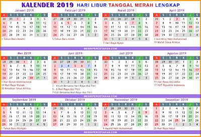 Kalender 2019 Lengkap LIBUR NASIONAL Tanggal Merah