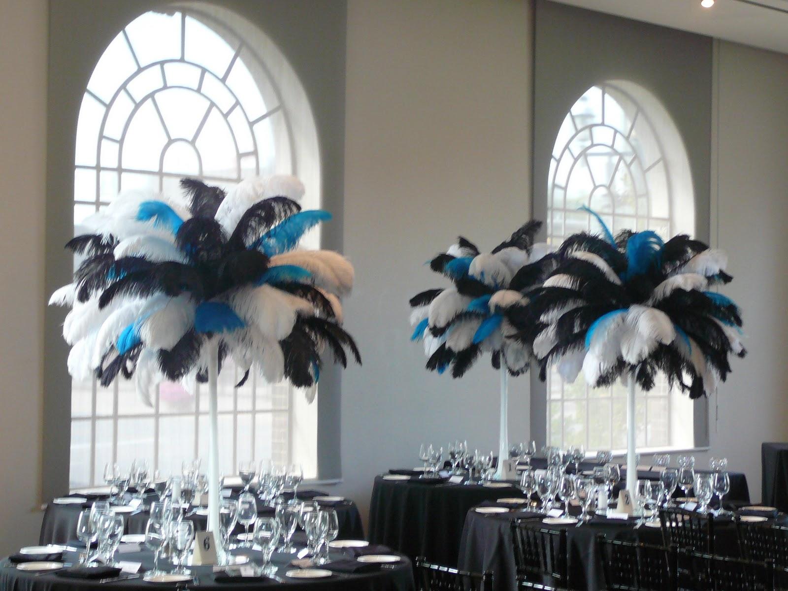 Flower And Event Decor. Ostrich Feather Centerpieces: Best