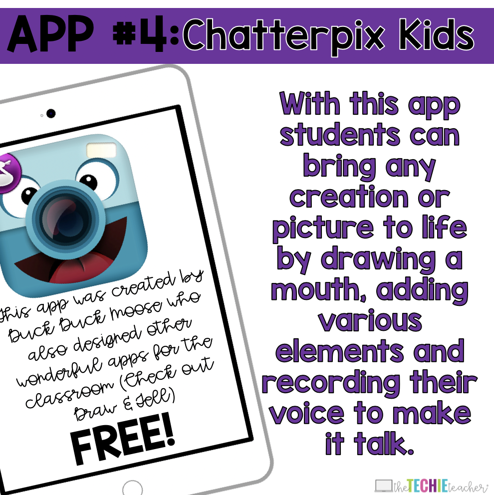 Chatterpix Kids App: With this app students can bring any creation or picture to life by drawing a mouth, adding various elements and recording their voice to make it talk.