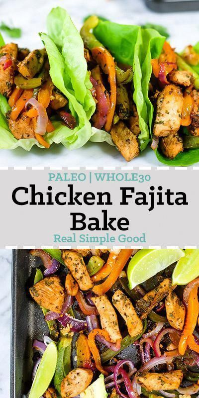 We are huge fans of tacos, fajitas and pretty much anything with Mexican flavors! And of course we love simple, quick and easy meals. So, this Paleo and Whole30 chicken fajita bake is basically where all the things collide! You'll love this flavor-packed Paleo and Whole30 sheet pan meal that's ready in just 35 minutes! #paleorecipe #whole30recipe #sheetpan #foodhealthyrecipes
