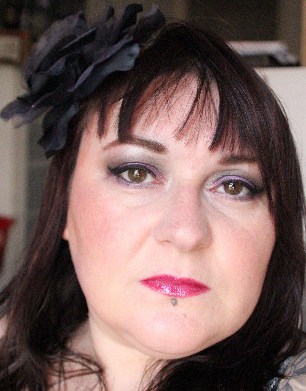 Purple grey makeup look