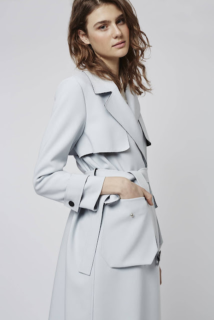 light blue trenchcoat, pastel blue trench coat,
