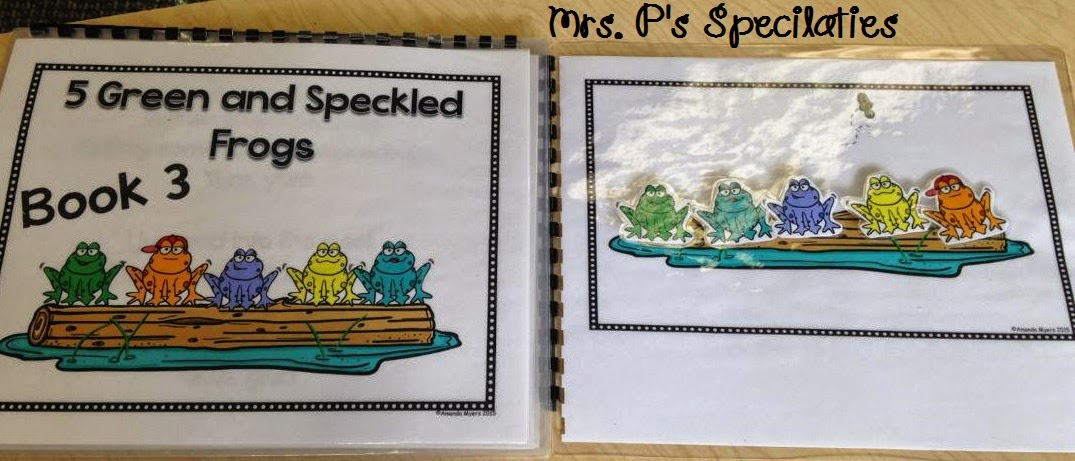 photo of 5 green and speckled frogs interactive book