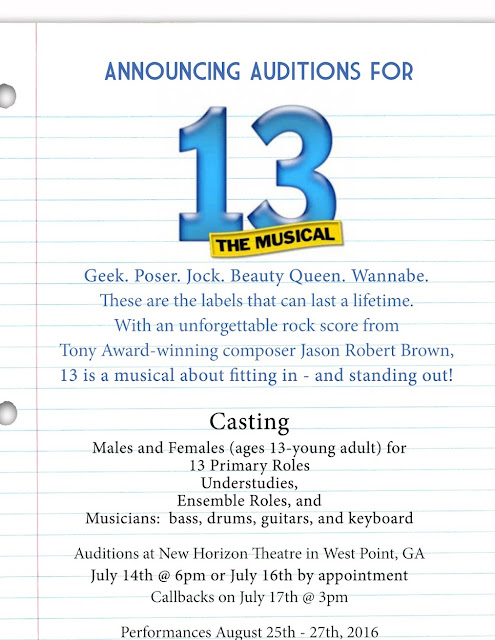 "NHCT Announces Auditions for ""13 the Musical"""